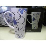 Melamin pohárkészlet, kék virágos, 4db/csom.