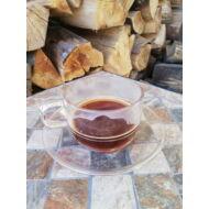 Kávéscsésze alátéttel, polikarbonát, átlátszó, 200 ml