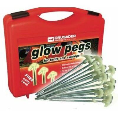 Glow Pegs, sátorfeszítő cövek, foszforeszkáló, 20db, Crusader