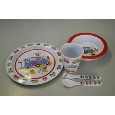 Melamin Gyermek étkészlet, lakóautós, 5db-os, Flamefield