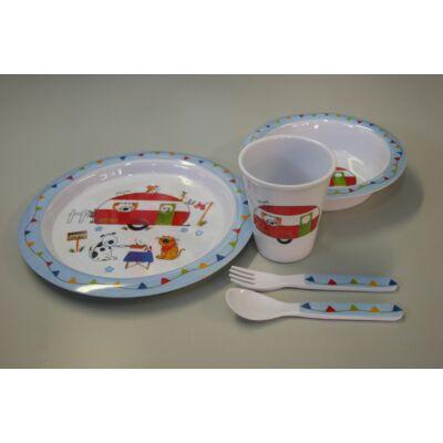 Melamin Gyermek étkészlet, lakókocsis, 5db-os, Falmefield