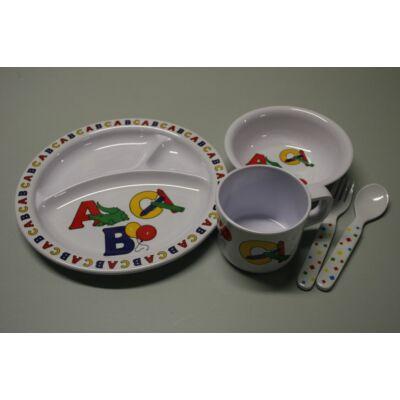 Melamin Gyermek étkészlet,  ABC, 5db-os