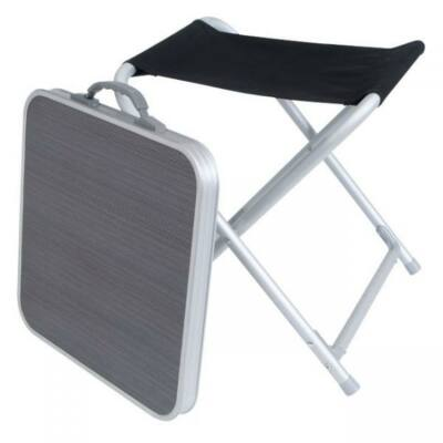 Összecsukaható szék, 42x42cm asztallal, fekete, Crusader