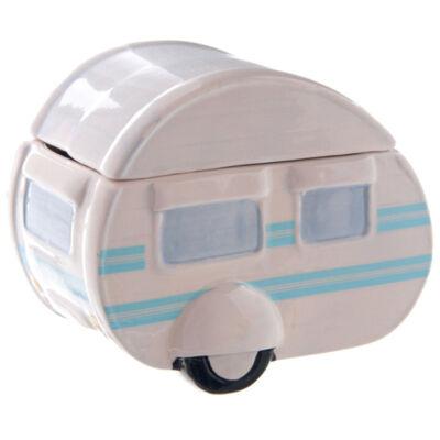 Lakókocsis dobozka - kerámia - kék