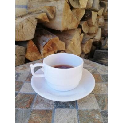 Kávéscsésze alátéttel, polikarbonát, fehér, 200 ml