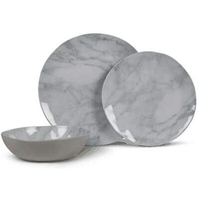Kampa Marble melamin étkészlet, 12 darabos, Kampa